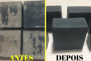 sabonetes antes com soda ash e depois da limpeza